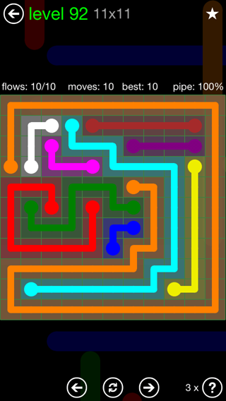 Solution and Answer to the Puzzle for Flow 11mania Pack Set 11x11 Level 92