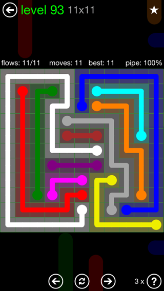 Solution and Answer to the Puzzle for Flow 11mania Pack Set 11x11 Level 93