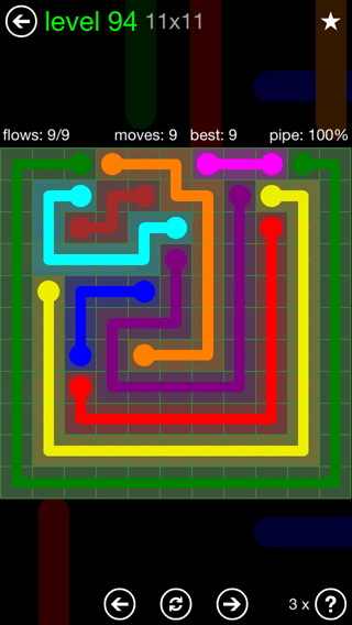 Solution and Answer to the Puzzle for Flow 11mania Pack Set 11x11 Level 94