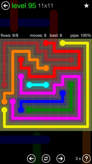Solution and Answer to the Puzzle for Flow 11mania Pack Set 11x11 Level 95