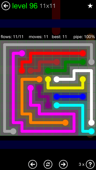 Solution and Answer to the Puzzle for Flow 11mania Pack Set 11x11 Level 96