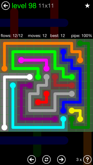 Solution and Answer to the Puzzle for Flow 11mania Pack Set 11x11 Level 98