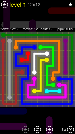 Solution and Answer to the Puzzle for Flow 12mania Pack Set 12x12 Level 1