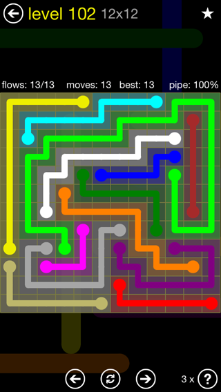 Solution and Answer to the Puzzle for Flow 12mania Pack Set 12x12 Level 102