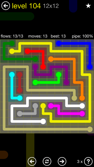 Solution and Answer to the Puzzle for Flow 12mania Pack Set 12x12 Level 104