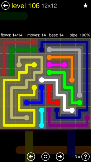 Solution and Answer to the Puzzle for Flow 12mania Pack Set 12x12 Level 106