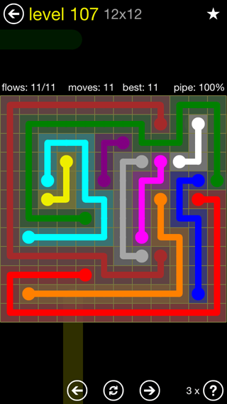 Solution and Answer to the Puzzle for Flow 12mania Pack Set 12x12 Level 107