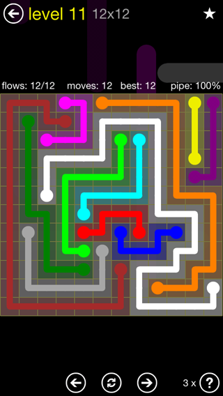 Solution and Answer to the Puzzle for Flow 12mania Pack Set 12x12 Level 11