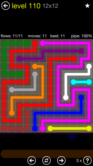 Solution and Answer to the Puzzle for Flow 12mania Pack Set 12x12 Level 110