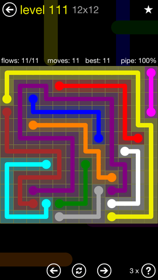 Solution and Answer to the Puzzle for Flow 12mania Pack Set 12x12 Level 111