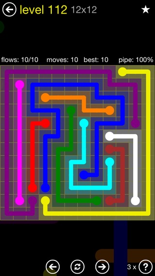 Solution and Answer to the Puzzle for Flow 12mania Pack Set 12x12 Level 112