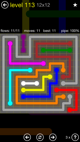 Solution and Answer to the Puzzle for Flow 12mania Pack Set 12x12 Level 113