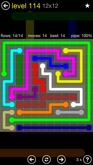 Solution and Answer to the Puzzle for Flow 12mania Pack Set 12x12 Level 114