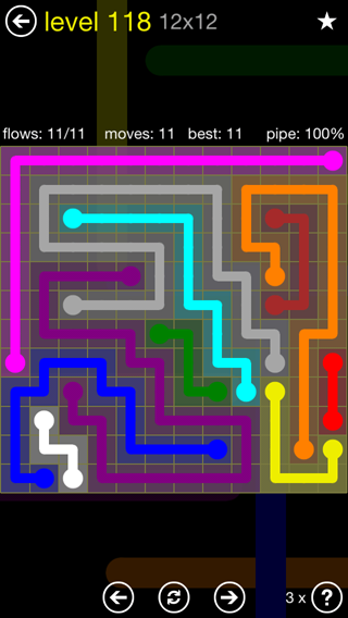 Solution and Answer to the Puzzle for Flow 12mania Pack Set 12x12 Level 118