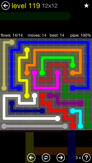 Solution and Answer to the Puzzle for Flow 12mania Pack Set 12x12 Level 119