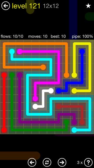 Solution and Answer to the Puzzle for Flow 12mania Pack Set 12x12 Level 121