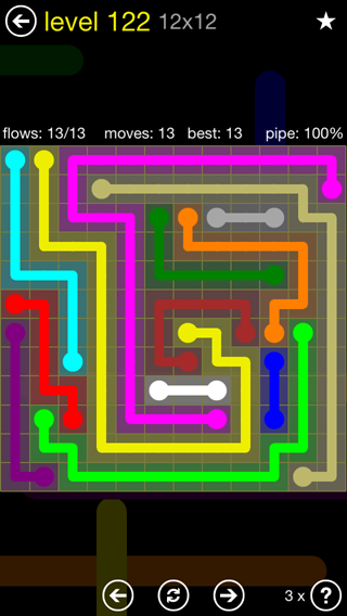 Solution and Answer to the Puzzle for Flow 12mania Pack Set 12x12 Level 122