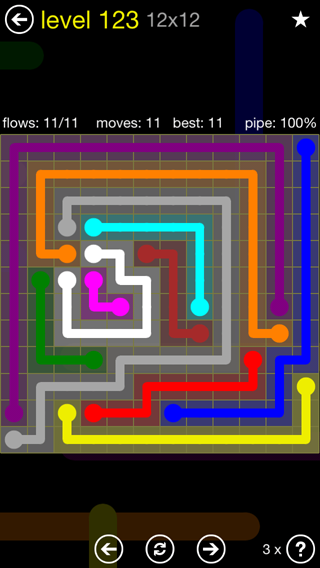 Solution and Answer to the Puzzle for Flow 12mania Pack Set 12x12 Level 123