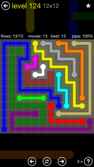Solution and Answer to the Puzzle for Flow 12mania Pack Set 12x12 Level 124