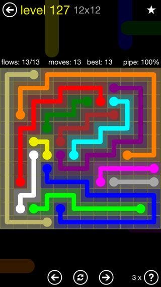 Solution and Answer to the Puzzle for Flow 12mania Pack Set 12x12 Level 127