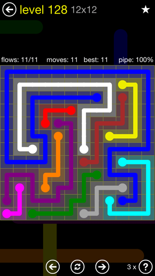 Solution and Answer to the Puzzle for Flow 12mania Pack Set 12x12 Level 128