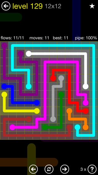 Solution and Answer to the Puzzle for Flow 12mania Pack Set 12x12 Level 129
