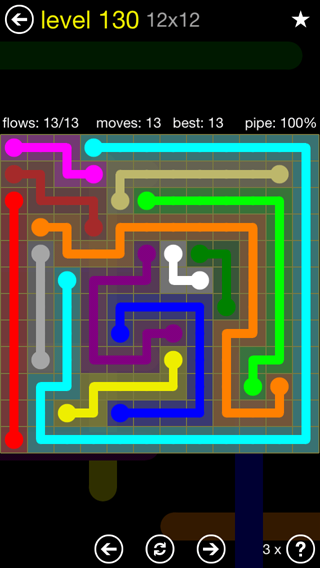 Solution and Answer to the Puzzle for Flow 12mania Pack Set 12x12 Level 130
