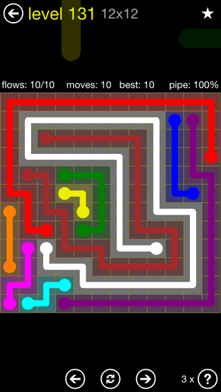 Solution and Answer to the Puzzle for Flow 12mania Pack Set 12x12 Level 131