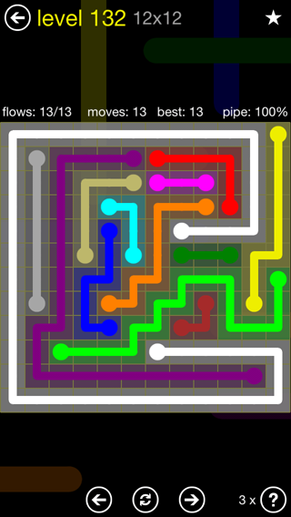 Solution and Answer to the Puzzle for Flow 12mania Pack Set 12x12 Level 132