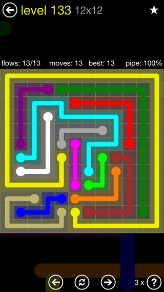 Solution and Answer to the Puzzle for Flow 12mania Pack Set 12x12 Level 133