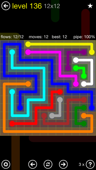 Solution and Answer to the Puzzle for Flow 12mania Pack Set 12x12 Level 136