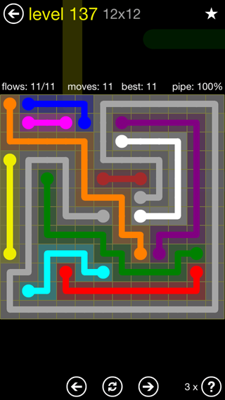 Solution and Answer to the Puzzle for Flow 12mania Pack Set 12x12 Level 137