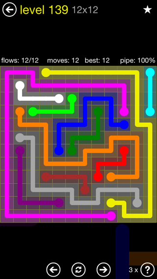 Solution and Answer to the Puzzle for Flow 12mania Pack Set 12x12 Level 139
