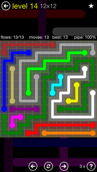 Solution and Answer to the Puzzle for Flow 12mania Pack Set 12x12 Level 14