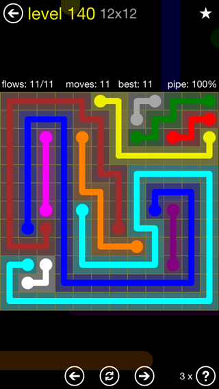 Solution and Answer to the Puzzle for Flow 12mania Pack Set 12x12 Level 140