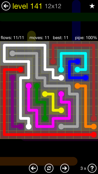 Solution and Answer to the Puzzle for Flow 12mania Pack Set 12x12 Level 141