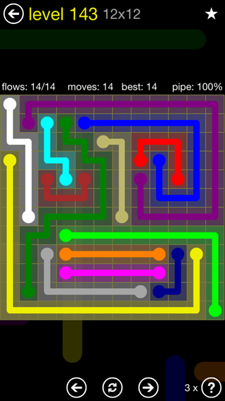 Solution and Answer to the Puzzle for Flow 12mania Pack Set 12x12 Level 143