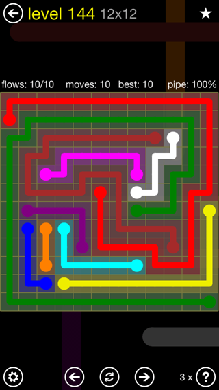Solution and Answer to the Puzzle for Flow 12mania Pack Set 12x12 Level 144