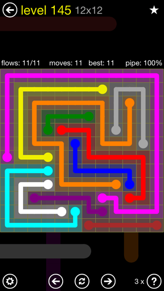 Solution and Answer to the Puzzle for Flow 12mania Pack Set 12x12 Level 145