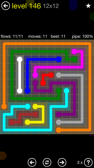 Solution and Answer to the Puzzle for Flow 12mania Pack Set 12x12 Level 146