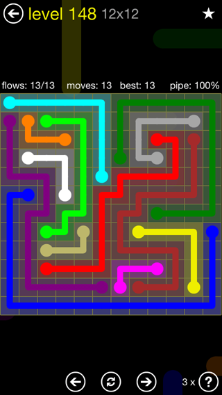 Solution and Answer to the Puzzle for Flow 12mania Pack Set 12x12 Level 148