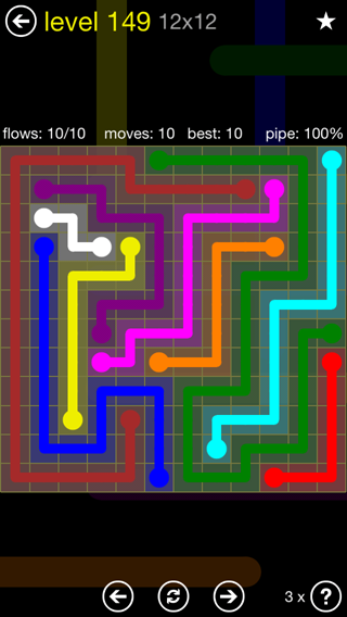 Solution and Answer to the Puzzle for Flow 12mania Pack Set 12x12 Level 149