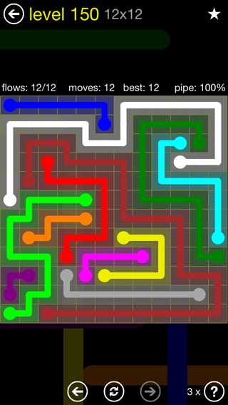 Solution and Answer to the Puzzle for Flow 12mania Pack Set 12x12 Level 150