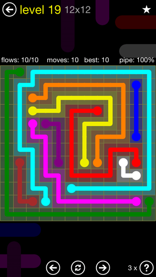 Solution and Answer to the Puzzle for Flow 12mania Pack Set 12x12 Level 19
