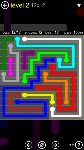 Solution and Answer to the Puzzle for Flow 12mania Pack Set 12x12 Level 2