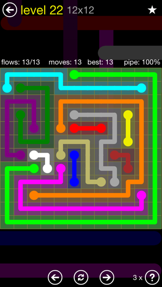 Solution and Answer to the Puzzle for Flow 12mania Pack Set 12x12 Level 22