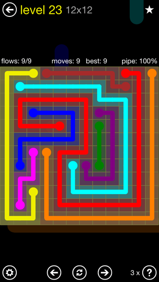 Solution and Answer to the Puzzle for Flow 12mania Pack Set 12x12 Level 23