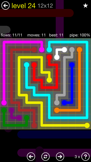 Solution and Answer to the Puzzle for Flow 12mania Pack Set 12x12 Level 24