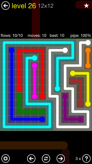 Solution and Answer to the Puzzle for Flow 12mania Pack Set 12x12 Level 26