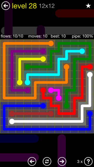 Solution and Answer to the Puzzle for Flow 12mania Pack Set 12x12 Level 28
